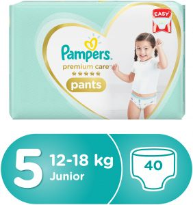Pampers Premium Care Pants Diapers, Size 5, Junior, 12-18kg, Jumbo Pack, 40 Count