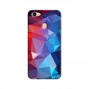 Cover It Up - Blue and Red Pixel Triangles Oppo F5 Hard Case
