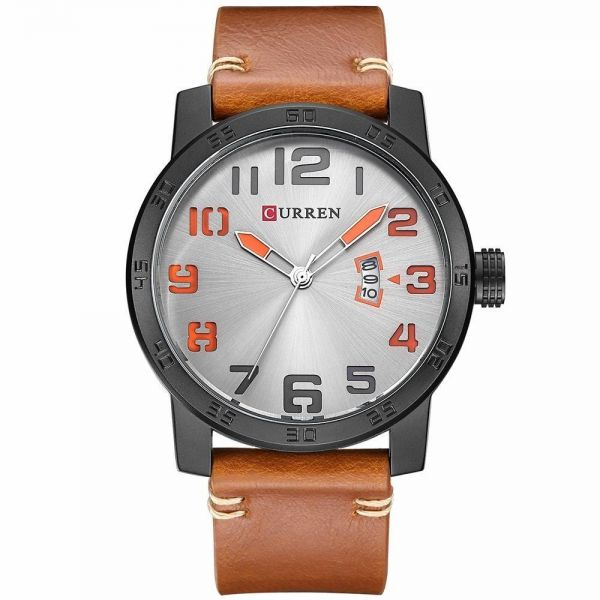 3f8669946 Curren Casual Watch For Men Analog Leather - 8254