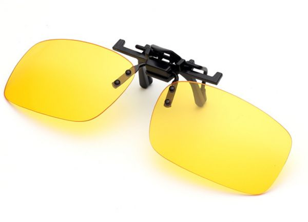 1152fb2cbb Yellow Polarized Clip-on Flip up Sunglasses Lenses Glasses Unbreakable  Driving Fishing Outdoor Sport