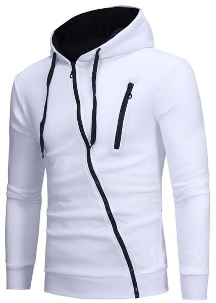 Casual Slim Hoodies Fashion Men Drawstring Oblique Zipper Cardigan Hooded  Sweatshirt bb790f28f72e