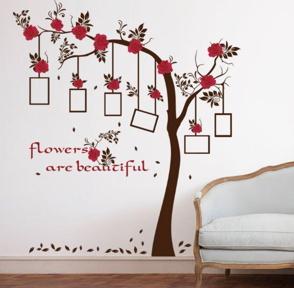 Red Flowers Family Tree Wall Photo Frame Wall Stickers Bedroom