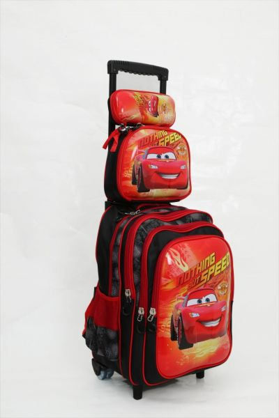 54a0f4c2028 Cars Lightning McQueen school backpack trolley Bag 16 inch with Pencil Case    Lunch Bag 3 Pcs Set