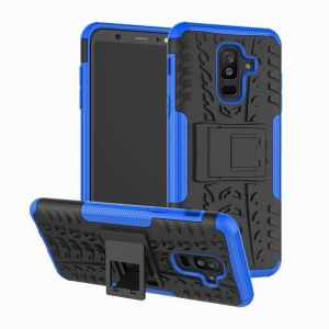Samsung Galaxy A6 Plus (2018) Hybrid TPU Armor Silicone Rubber Hard Back Impact Stand case Cover Blue