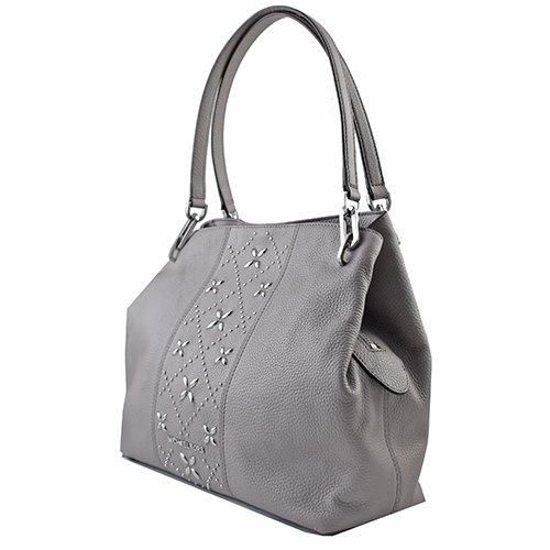 20eab4183d18 new arrivals michael kors leighton jet set large tote pearl grey studded  a3cc3 29164