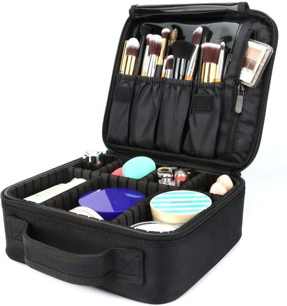 Travel Makeup Bag,Portable Travel Makeup Cosmetic Case Organizer Artist Storage  Bag with Adjustable Dividers for Cosmetics Makeup Brushes Toiletry Jewelry  ... f09a39f748