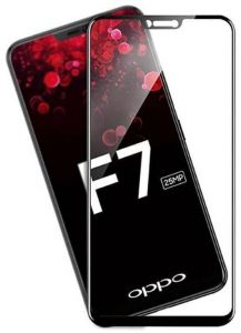 OPPO F7 3D Curved Full Coverage Tempered Glass Screen Protector For OPPO F7 With Black Frame By Muzz