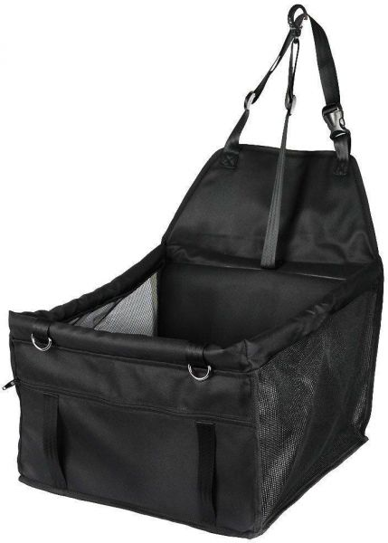 Portable Pet Car Seat Belt Booster Travel Carrier Folding Bag for Dog Cat Puppy Kitty up to 25lbs, Black