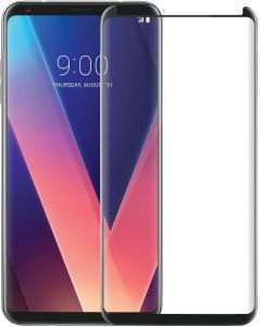 LG V30 3D Curved Full Coverage Tempered Glass Screen Protector For LG V30 With Black Frame By Muzz