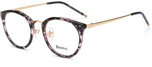 c59e2eafd3d DONNA Stylish Clear Lens Glasses Small Circle Frame Blue Light Blocking for  Computer DN08-AFB
