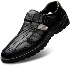fc2b916519ef Men casual sandals genuine leather breathable leather shoes baotou anti-collision  shoes black 40 yards