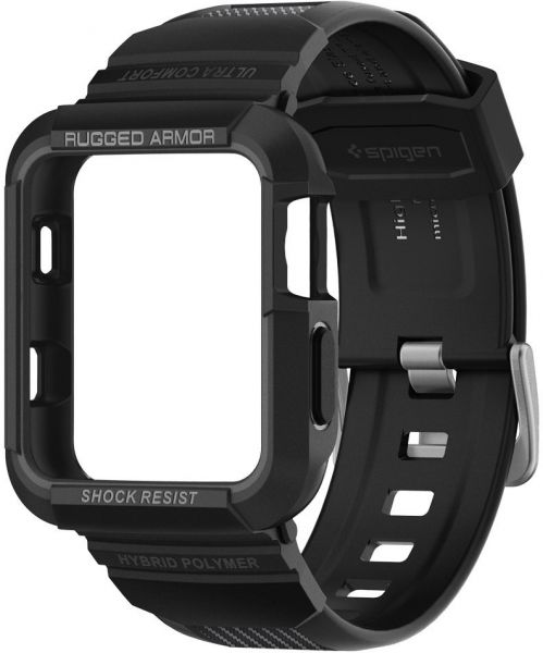 Spigen Apple Watch 42mm Series 3 / Series 2 / 1 Rugged Armor PRO cover / case with Band - Black