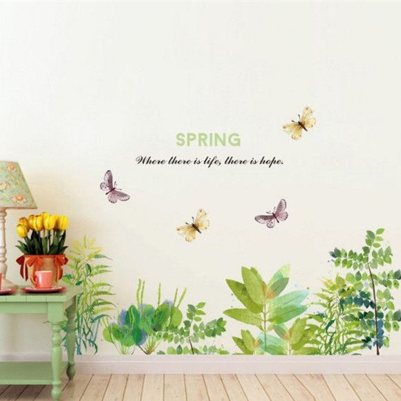 removable wall sticker peel and stick green grass and butterfly wall
