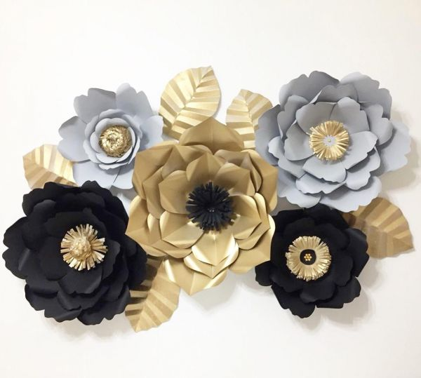 5 Pcs Giant Paper Flowers Black Gray Gold Colors With Leaves