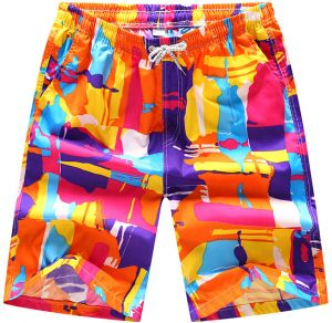 ab3a702135fc7 Fast Dry Colorful Block Printed Casual Beach Shorts Drawstring BoardShorts  Short Pant for Men Size M