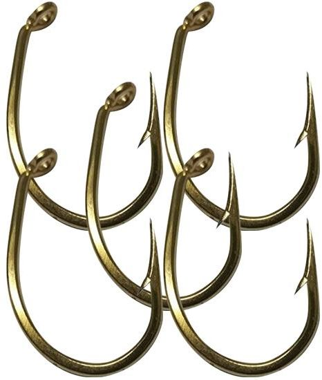 five golden mustad hooks for fishing made in norway