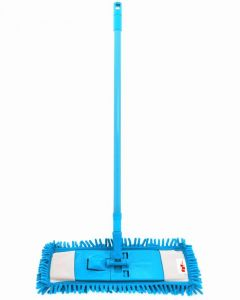 Adjustable Chenille Fiber Flat mop for Floor Window Wall Glasses Refillable Head -Sky Blue [EBHS-CT001B]