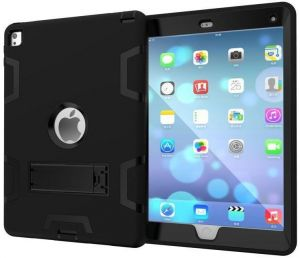 For Apple iPad Mini 4 7.9 Inch Anti Finger Print Mixed Protective Shell/Skin Shockproof Heavy Duty Hard Case Cover With Kick-Stand ( Black )