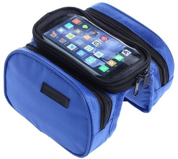e8d0f0dc541 Cycling Bike Bicycle Bag Front Frame Bag Biking Top Tube Bags Cell Phone  Pouch with Waterproof Sensitive Touch Screen (Blue)