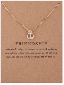 cfb0c89988af8 Make A Wish Necklace Anchor Friendship Good Luck Charm Pendant Gold