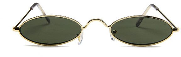 450273b9f4 Vintage Oval Sunglasses Small Metal Frames Designer Gothic Glasses Green.  by Other