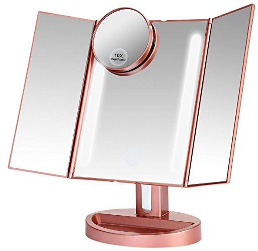 Rose Gold Makeup Vanity Mirror With 21 Led Lights 3x 2x