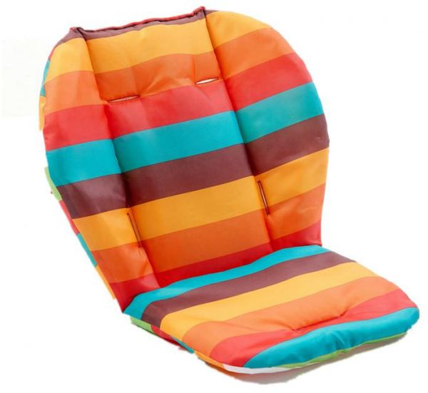 Universal Baby Stroller Seat Liner Infant Car Cushion 100 Cotton Padded Rainbow Stripes