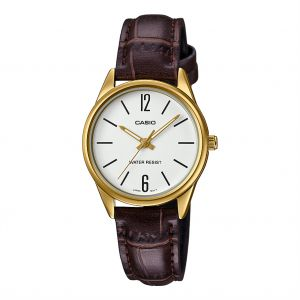 Casio Women's White Dial Leather Band Watch - LTP-V005GL-7BUDF