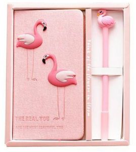 Cartoon Journal Diary 1 Planner Writing Notepad with Animal Pen Set,Hardcover,Gift Box,Pink