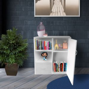 Vogue Bookshelf With 4 Shelves And 1 Drawer White