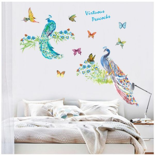 removable peacock art 3d wall paper for home decor, waterproof