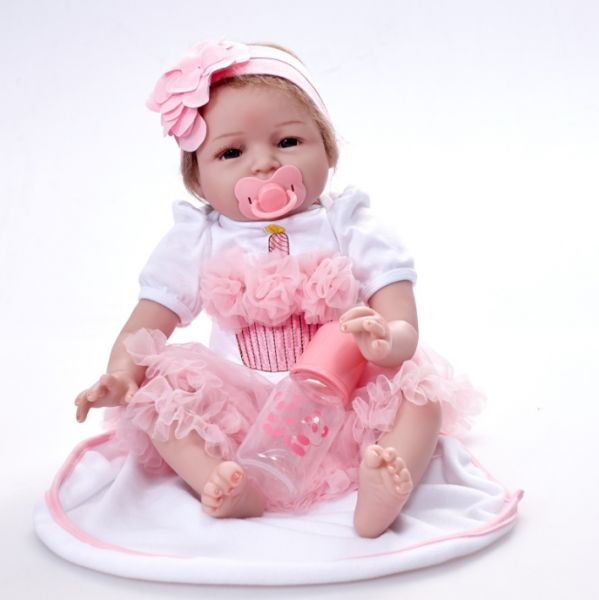 57a771988 55CM Cute simulated baby doll with pacifier and bottle doll lovely baby  silicone soft toy doll children s girl toys
