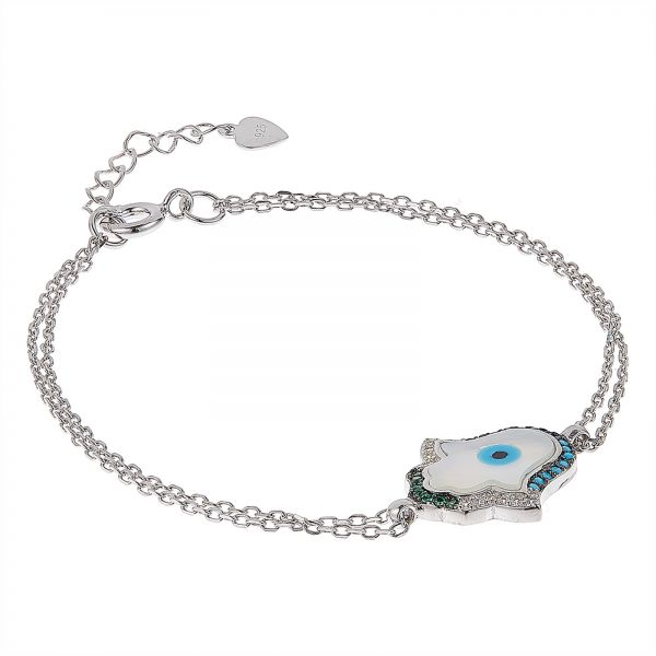 AK Jewels 925 Silver Fatima Hand With Multicolor Bracelet For Women