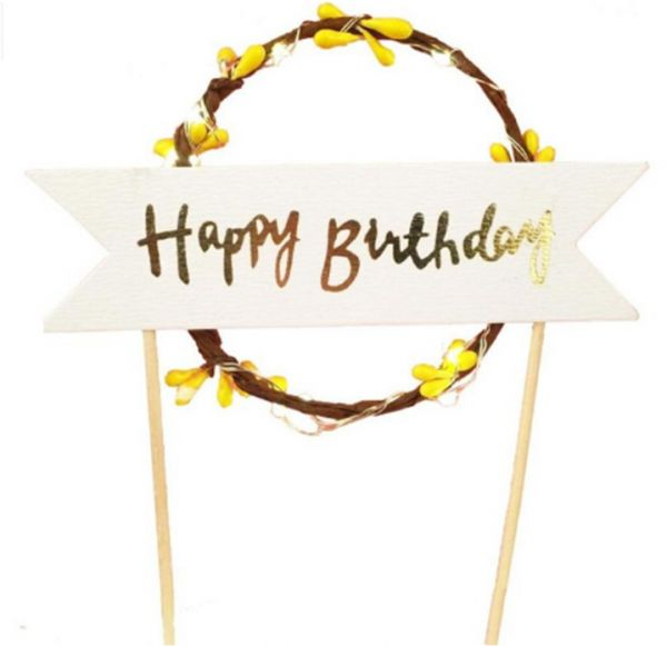 Happy Birthday Cake Bunting Topper Garland Handmade Pennant Flags With LED