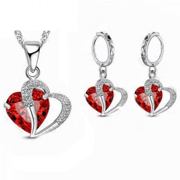 fd6b094f1 Swarovski Red Heart Necklace And Earrings - Best All Earring Photos ...