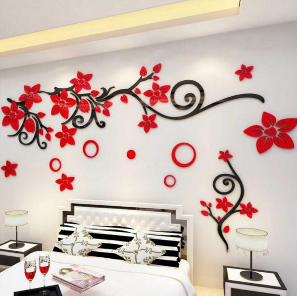 wedding room layout bedroom acrylic wall stickers 3d stereo tv