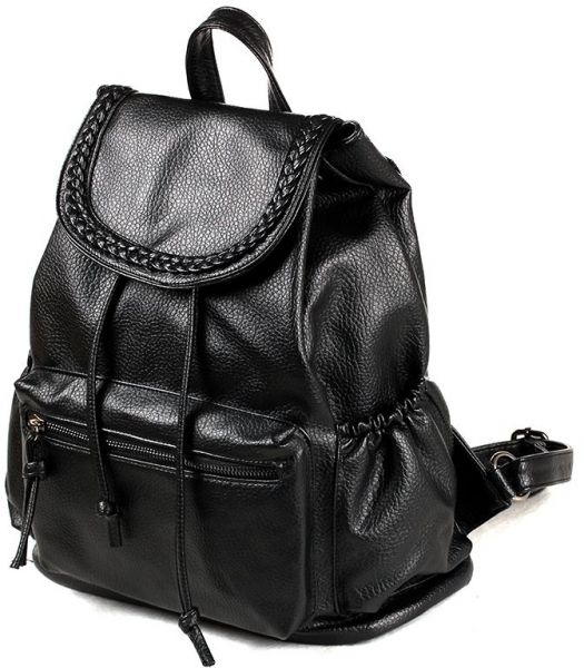 f1534b23b946 Fashionable women s double shoulder bag leisure pu soft leather  backpackadjustable shoulder straps large capacity black students Simple  schoolbag male ...