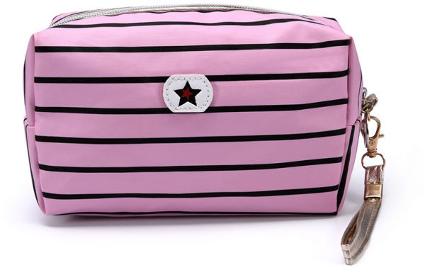 482e88aee979 Womens Travel Cosmetic black stripe Bags Handy Toiletry Makeup Pouch bag  for Ladies Girls
