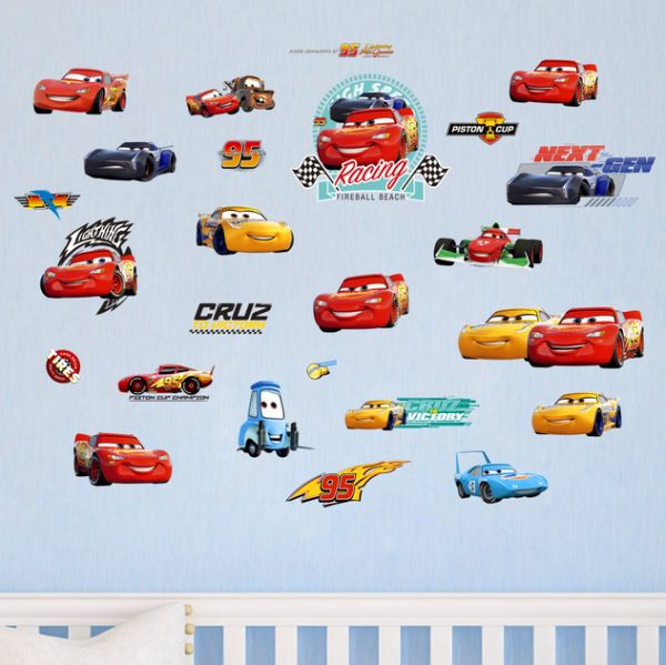 3d Cars Wall Decor Decals For Boys Bedroom Self Adhesive Kids Room