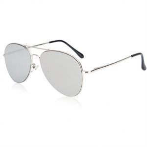 505a76d8f4 SOJOS Classic Aviator Mirrored Flat Lens Sunglasses Metal Frame with Spring  Hinges - Grey Lens