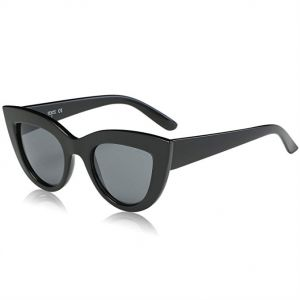 119f0156da7b3 SOJOS Retro Vintage Cateye Sunglasses for Women Plastic Frame Mirrored Lens  - Black Lens