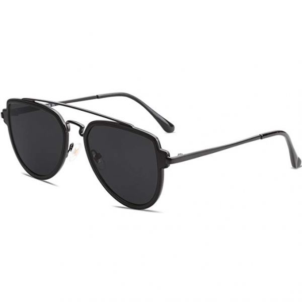 649325ca6f SOJOS Classic Aviator Polarized Sunglasses for Men   Women Double Bridge -  Black Lens