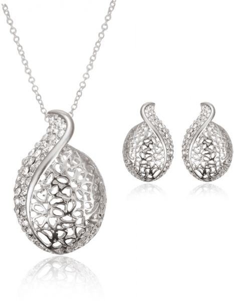 18 k Fashion Crystal Earrings Necklace Set,Round Cut Cubic Zirconia Jewelry Sets for Women Girls