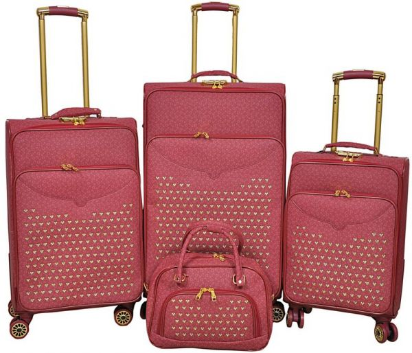 Track Luggage Trolley Bags Set Of 4 Pieces Maroon