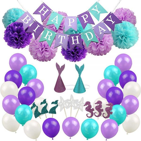 Mermaid Theme Flag Party Balloon Supplies Birthday Decoration Balloons Foil Set