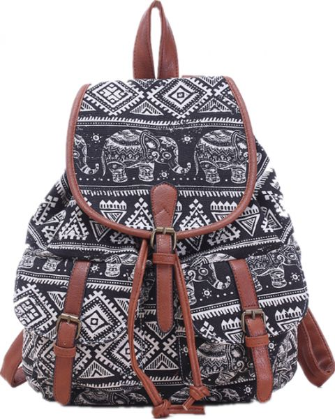 Casual fashion canvas bag elephants print Drawstring backpack for ... 96b13be1ff