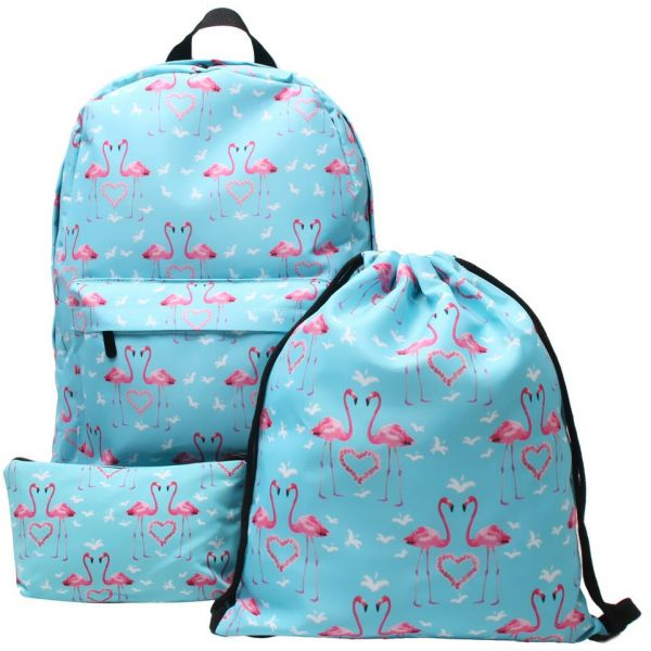 b5f9dd1aba77 3PCS  Set Cute Flamingo Printed Backpack Water Resistant Laptop Backpack  Bookbags School Backpack Travel Daypack For Girls Women Blue