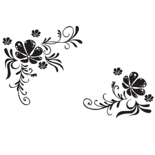 Contracted Black And White Flowers And Flower Vines Bedroom Living