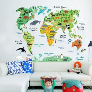 Colorful World Map Removable Wall Sticker Mural Decal Vinyl Art Kids Room  Office Home Decor Animal World Decoration Wallpaper-xsq