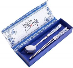 Elegant Oriental Inspiration Silver Stainless Steel Chopsticks & Spoon Set In Gift Box, 2 Piece.